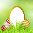 Stock Vector: Easter frame with eggs on grass.