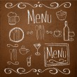 Vector de stock : Chalk board with hand drawn vintage elements for menu.