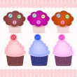 Stock Vector: Set of cute cupcakes