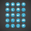 Weather Blue Icons — Stock Vector