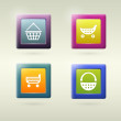 Set of shopping cart icon variations — Stock Vector