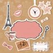 Vector set of Paris symbols — Stock Vector