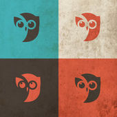 Owl Head Icon art illustration — Vector de stock