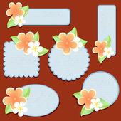 Cartoline di auguri con fiori. — Vettoriale Stock