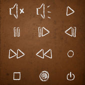 Hand drawn chalk on blackboard media player buttons. — Vector de stock