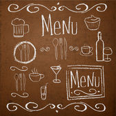 Chalk board with hand drawn vintage elements for menu. — Cтоковый вектор