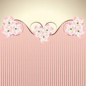 Vector decoration pink honeysuckle sakura or cherry blossom waved background — Stock Vector