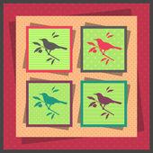 Set of four bird — Stock Vector