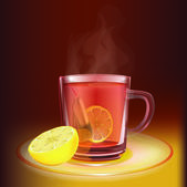 Cup of tea with lemon — Stock Vector