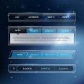 Elementi di navigazione sito web design modello con set di icone — Vettoriale Stock
