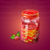 Pot with cherry berries jam — Stock Vector