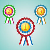 A set of three first, second and third place rosettes — Stock Vector