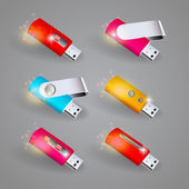 Vector set of color USB flash drives — Stock Vector