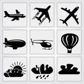 Travel icons set. Vector — Stok Vektör