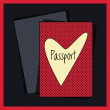 Heart passport cover. Vector — Stock Vector