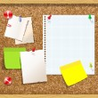 Corkboard with paper notes, memo stickers. Vector — Stock Vector #22978770