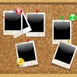 Corkboard with polaroid photos. Vector — Stock Vector