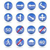 Circle blue road signs. Vector — Stock Vector