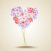 Floral heart shape. Vector — Stock Vector