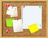 Corkboard with paper notes, memo stickers. Vector — Stock Vector