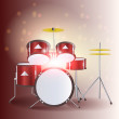 Red drum kit. High resolution 3d render — Stockvektor