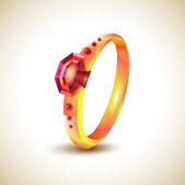 Golden ring with red jewels — Stock Vector
