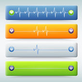 Background with different types of Cardiogram — Vettoriale Stock