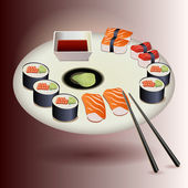 Vector Sushi plate set — Vector de stock