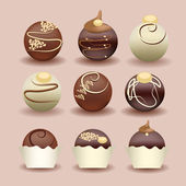 Illustration of isolated set of chocolate cakes — Vector de stock