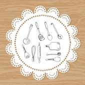 Cutlery. set of vector sketches on a lace doily background — Stock Vector