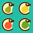 Bitten fruits icons — Image vectorielle