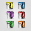 Color set of paint can — Stock Vector #23198426