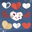 Vector paper hearts — Stock Vector