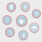 Drinks icons on blue balls — Stockvector