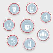 Iconos de bebidas en bolas azules — Vector de stock