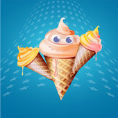 アイス クリーム コーン — ストックベクタ