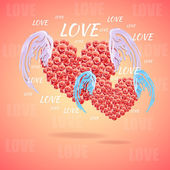 Pink heart with angel wings — Stock Vector