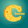 Word Cheese written with cheese — Stock Vector