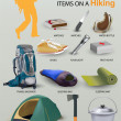Top 12 most important items on a hiking. — Stock Vector