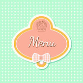 Menu with cupcake — Stock Vector