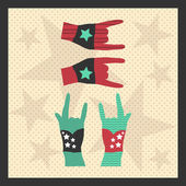 Hands up showing rock sign grunge illustration — Stockvektor