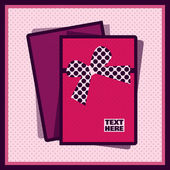 Pink card with ribbon — Stock Vector