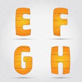 Wooden vector font. — Stock Vector