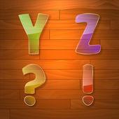 Kleurrijke glas vector lettertype. — Stockvector