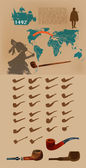 Infographic elements with smoking pipes. — Stock vektor