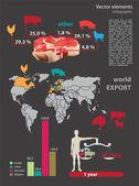 Vector infografía elementos para la exportación. — Vector de stock