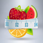 Fruits with measuring tape — Stock Vector