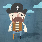 Background with pirate. — Stock Vector