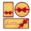 Set of beautiful cards with red gift bows — Stock Vector