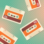 Grunge cassettes background. — Stock Vector
